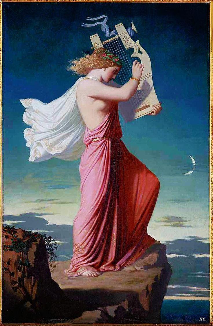 Ritratto in piedi della poetessa greca Saffo